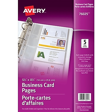 Avery business card pages 5 12 x 8 12 clear 5pack 76025 avery business card pages 5 12 reheart Image collections