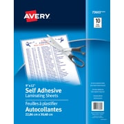 "Avery® - feuilles à auto plastification, 9"" x  12"". 2 mil"