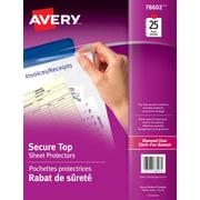 Avery® 78602 Pochettes protectrices très épaisses avec rabat de sécurité, transparentes, 25/paquet