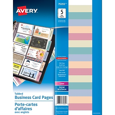 Avery® 75355 Porte-cartes d'affaires avec onglets, transparents, 5/paquet