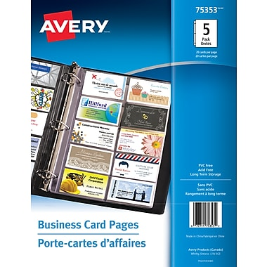 Avery business card pages clear 5pack 75353 staples avery business card pages clear 5pack 75353 reheart Image collections