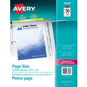 Avery® 78630 Pochettes protectrices pleine page, transparentes, 50/paquet