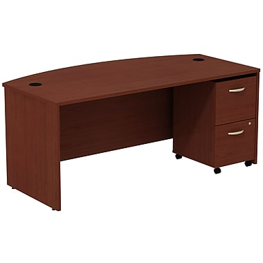 Bush Business Furniture Westfield Bow Front Desk with 2 Drawer Mobile Pedestal, Mahogany (SRC0020MASU)