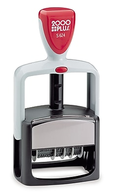 Cosco® 2000PLUS® Self-Inking, Dater and 12 Phrase Stamp, Impression Size, Black Ink