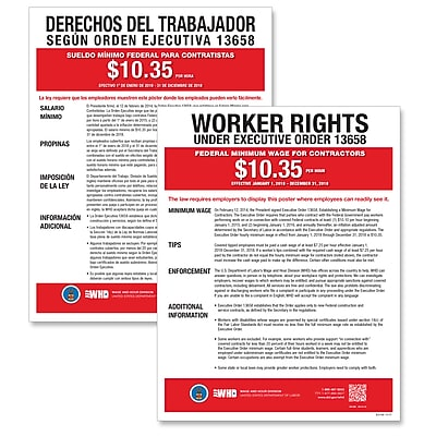ComplyRight Federal Minimum Wage for Contractors Poster, Bilingual (E2240B)