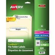 "Avery® TrueBlock™ Laser/Inkjet File Folder Labels, 3-7/16"" x 2/3"", 600/Pack (5066)"