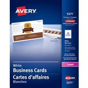 "Avery® Perforated Laser Business Cards, 3-1/2"" x 2"", White, 250/Pack, (05371)"