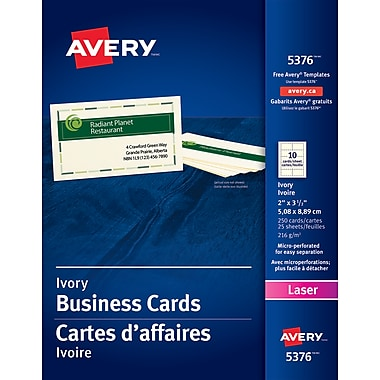 Avery® Perforated Laser Business Cards, 3-1/2