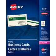 "Avery® Perforated Laser Business Cards, 3-1/2"" x 2"", Ivory, 250/Pack, (05376)"