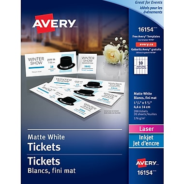 avery tickets with tear away stubs white 1 3 4 x 5 1 2 200
