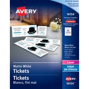 avery tickets with tear away stubs white 1 34