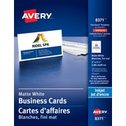 "Avery® Perforated Inkjet Business Cards, 3-1/2"" x 2"", White, 250/Pack, (08371)"