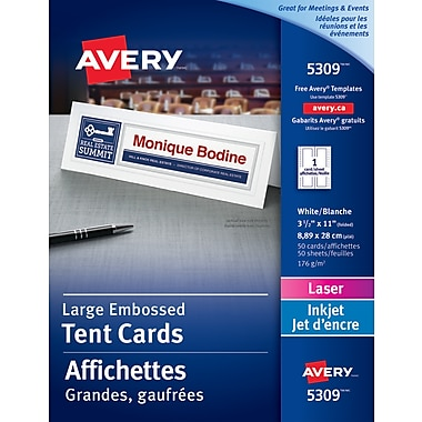 Avery® – Affichettes imprimables, grand format, 3 1/2 po x 11 po, n° 05309