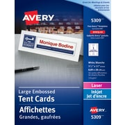 "Avery® White Laser/Inkjet Printable Large Tent Cards, 3-1/2"" x 11"", 50/Pack, (05309)"
