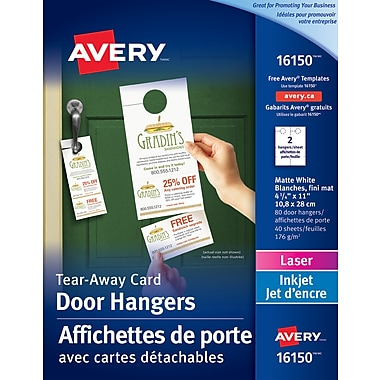 Avery Door Hangers With Tear Away Cards White 4 14 X 11 80