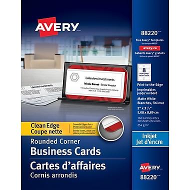 Avery® - Cartes professionnelles jet d'encre Clean Edge, blanches, paq./160