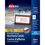 "Avery® Rounded Corners Clean Edge Inkjet Business Cards, 3-1/2"" x 2"", White, 160/Pack (88220)"