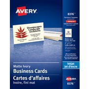"Avery® Perforated Inkjet Business Cards, 3-1/2"" x 2"", Ivory, 250/Pack, (08376)"