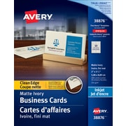 "Avery® Clean Edge Inkjet Business Cards, 3-1/2"" x 2"", Ivory, 200/Pack, (38876)"