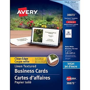 Avery® – Cartes d'affaires à coupe nette, fini toilé pour jet d'encre, lin, n° 38873, paq./200