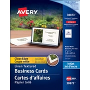 "Avery® Clean Edge Inkjet Business Cards, 3-1/2"" x 2"", Linen Texture, 200/Pack, (38873)"