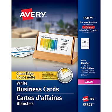 Avery clean edge laser business cards 3 12 x 2 white 200pack avery clean edge laser business cards 3 12 reheart Images