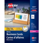 Business cards staples avery clean edge laser business cards 3 12 x 2 reheart Image collections