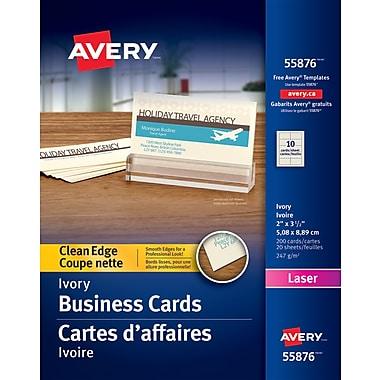 Avery® – Cartes d'affaires à coupe nette, pour imprimantes laser, ivoire, paq./200