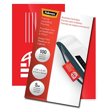 Fellowes Glossy Pouches Business Card 5 Mil 100 Pack