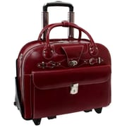 McKlein W Series, ROSEVILLE, Cowhide Leather, Checkpoint-Friendly Patented Detachable Wheeled Laptop Briefcase, Red (96646)