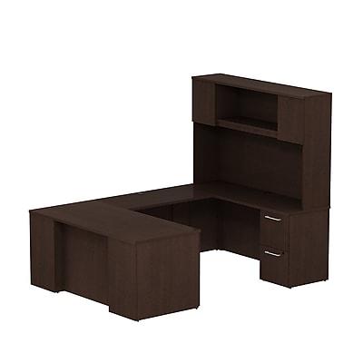 Bush Business Furniture Emerge 66W x 30D U Shaped Desk w/ Hutch and 2 Pedestals, Mocha Cherry (300S056MR)