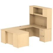 Bush Business Furniture Emerge 60W x 30D U Shaped Desk with Hutch and 2 Pedestals, Natural Maple, Installed (300S057ACFA)