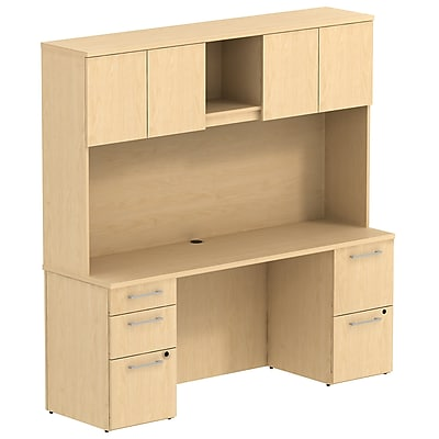 Bush Business Furniture Emerge 72W x 22D Office Desk w/ Hutch and 2 Pedestals, Natural Maple (300S058AC)