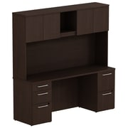 Bush Business Furniture Emerge 72W x 22D Office Desk with Hutch and 2 Pedestals, Mocha Cherry, Installed (300S058MRFA)