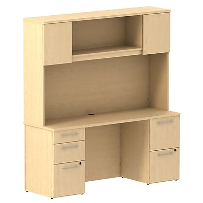 Bush Business Furniture Emerge 66W x 22D Office Desk with Hutch and 2 Pedestals, Natural Maple (300S059AC)