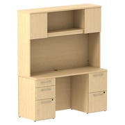 Bush Business Furniture Emerge 60W x 22D Office Desk with Hutch and 2 Pedestals, Natural Maple, Installed (300S060ACFA)