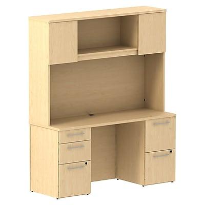 Bush Business Furniture Emerge 60W x 22D Office Desk w/ Hutch and 2 Pedestals, Natural Maple (300S060AC)