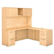 Bush Business Furniture Emerge 72W x 22D L Shaped Desk with Hutch and 2 Pedestals, Natural Maple (300S061AC)