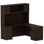 Bush Business Furniture Emerge 66W x 22D L Shaped Desk with Hutch and 2 Pedestals, Mocha Cherry, Installed (300S062MRFA)