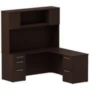 Bush Business Furniture Emerge 66W x 22D L Shaped Desk with Hutch and 2 Pedestals, Mocha Cherry (300S062MR)