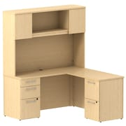 Bush Business Furniture Emerge 60W x 22D L Shaped Desk with Hutch and 2 Pedestals, Natural Maple (300S063AC)