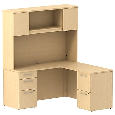 Bush Business Furniture Emerge 60W x 22D L Shaped Desk w/ Hutch and 2 Pedestals, Natural Maple, Installed (300S063ACFA)