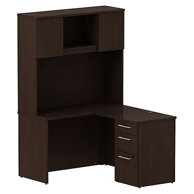 Bush Business Furniture Emerge 48W x 22D L Shaped Desk with Hutch and 3 Drawer Pedestal, Mocha Cherry, Installed (300S064MRFA)