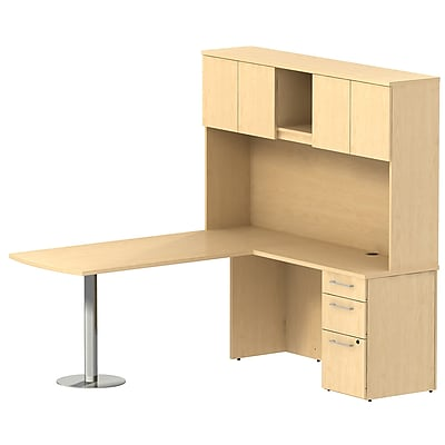 Bush Business Furniture Emerge 72W x 30D L Shaped Peninsula Desk w/ Hutch and 3 Drawer Pedestal, Natural Maple (300S065AC)