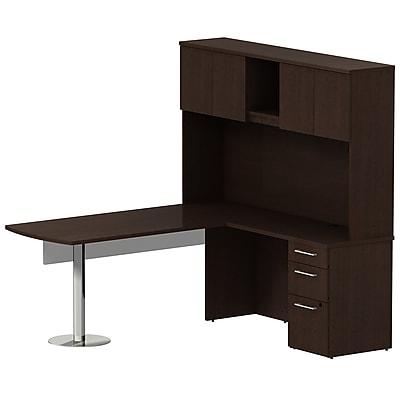 Bush Business Furniture Emerge 72W L Shaped Peninsula Desk w/ 60W Modesty Panel, Pedestal and Hutch, Mocha Cherry (300S066MR)