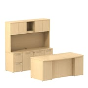 Bush Business Furniture Emerge 72W Bow Front Office Desk w/ 2 Pedestals, Credenza and Hutch, Natural Maple (300S067AC)