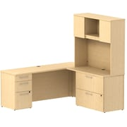 Bush Business Furniture Emerge 72W L Shaped Desk w/ Pedestal, Lateral File Cabinet and Hutch, Natural Maple (300S068AC)