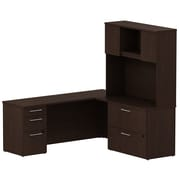 Bush Business Furniture Emerge 72W L Shaped Desk w/ Pedestal, Lateral File Cabinet and Hutch, Mocha Cherry (300S068MR)