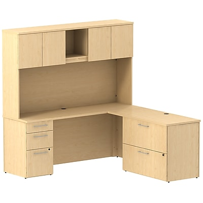 Bush Business Furniture Emerge 72W L Shaped Desk w/ Pedestal, Lateral File Cabinet and Hutch, Natural Maple (300S069AC)