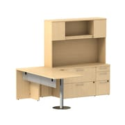 Bush Business Furniture Emerge 72W x 30D L Shaped Peninsula Desk with Storage, Natural Maple, Installed (300S072ACFA)